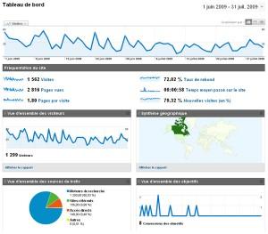 Capture d'écran de l'outil d'analyse de statistique web